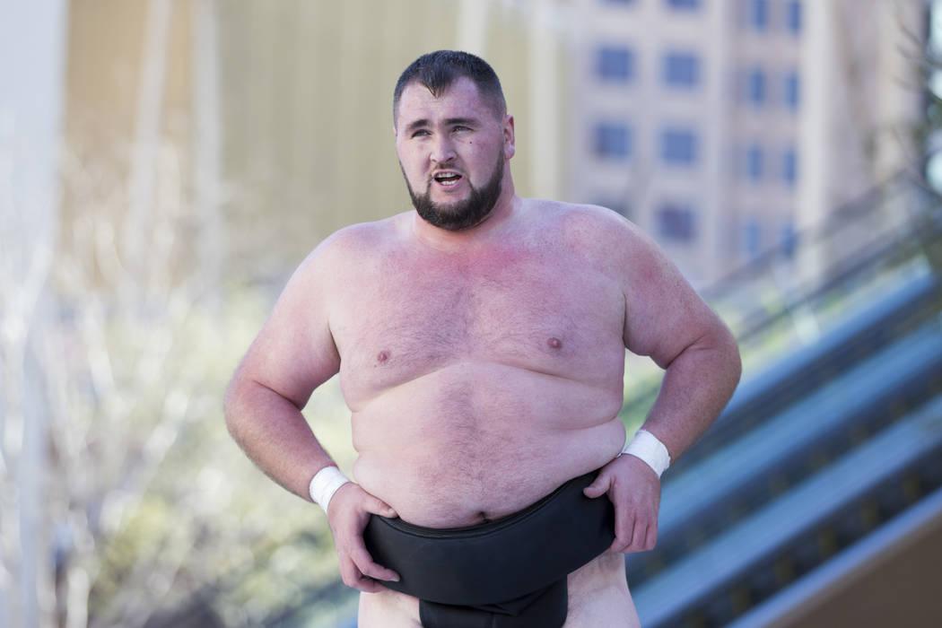 Professional sumo wrestler Soslan Gagloev during an Ultimate Sumo League press conference at Toshiba Plaza in Las Vegas, Wednesday, Feb. 7, 2018. Erik Verduzco Las Vegas Review-Journal @Erik_Verduzco