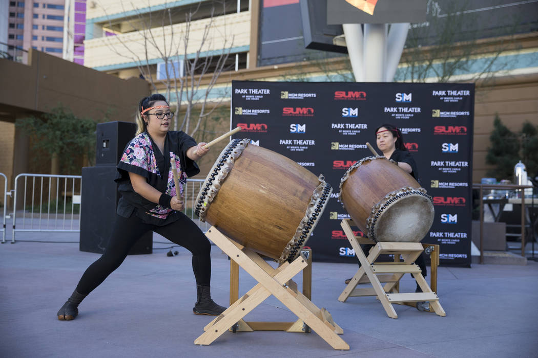 Jennifer Caballero, left, and Janeen Nanbu, with the Las Vegas Kaminari Taiko ensemble, perform during an Ultimate Sumo League press conference at Toshiba Plaza in Las Vegas, Wednesday, Feb. 7, 20 ...