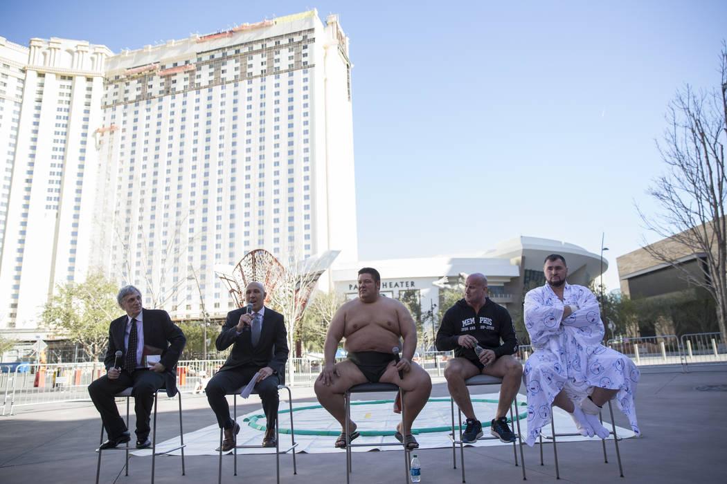 Noah Goldman, from left, president of the Ultimate Sumo League, Patrick Miller, president of Monte Carlo casino-hotel, and professional sumo wrestlers Dan Kalbfleisch, Robert Daniel, and Soslan Ga ...