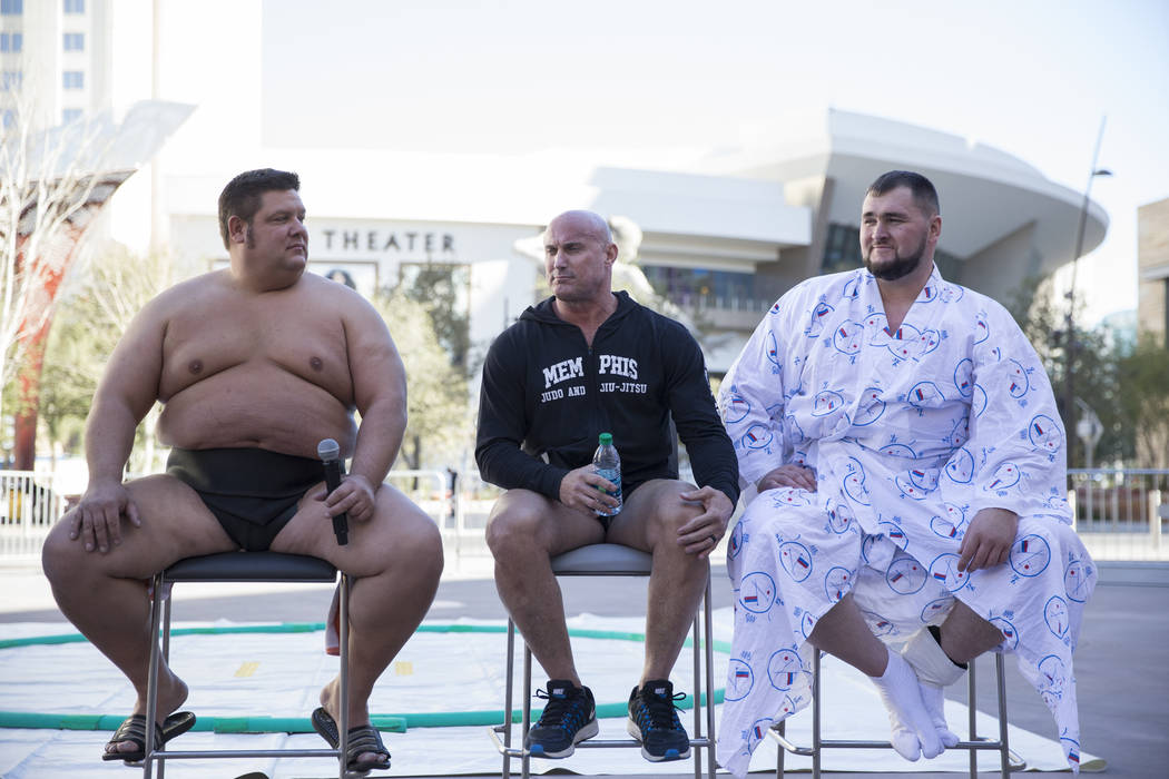 Professional sumo wrestlers, from left, Dan Kalbfleisch, Robert Daniel, and Soslan Gagloev, during an Ultimate Sumo League press conference at Toshiba Plaza in Las Vegas, Wednesday, Feb. 7, 2018.  ...
