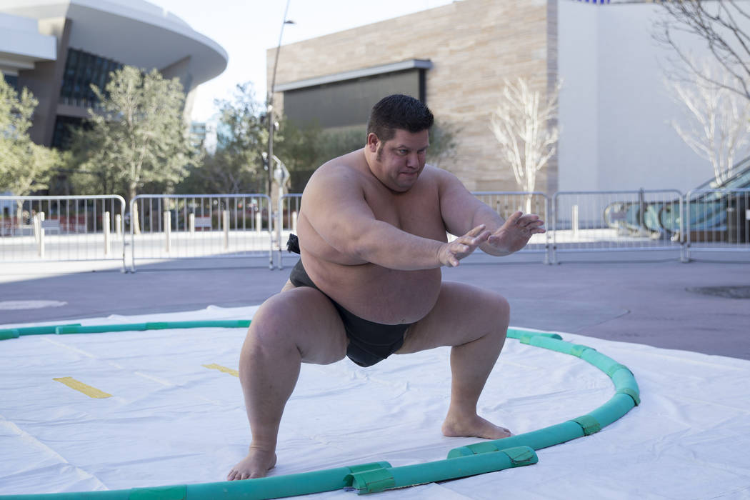 Professional sumo wrestler Dan Kalbfleisch gives a demonstrations during an Ultimate Sumo League press conference at Toshiba Plaza in Las Vegas, Wednesday, Feb. 7, 2018. Erik Verduzco Las Vegas Re ...
