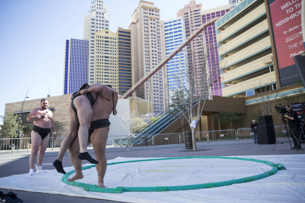 Professional sumo wrestlers Robert Daniel, left, is picked off the ground by Dan Kalbfleisch in a demonstration during an Ultimate Sumo League press conference at Toshiba Plaza in Las Vegas, Wedne ...