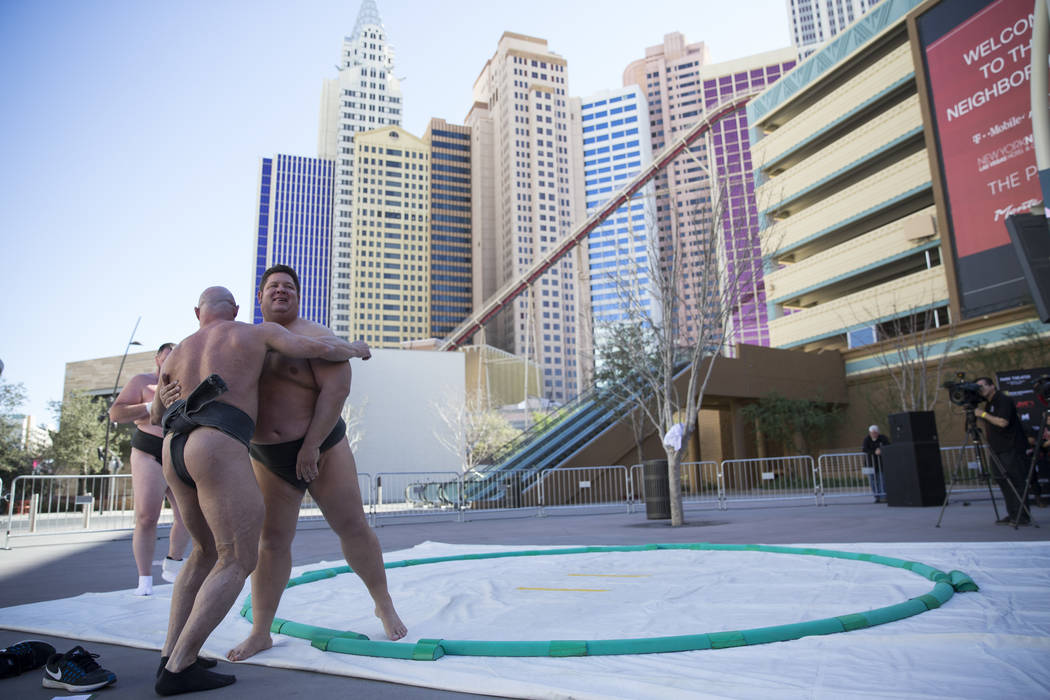 Professional sumo wrestlers Robert Daniel, left, and Dan Kalbfleisch, in a demonstration during an Ultimate Sumo League press conference at Toshiba Plaza in Las Vegas, Wednesday, Feb. 7, 2018. Eri ...