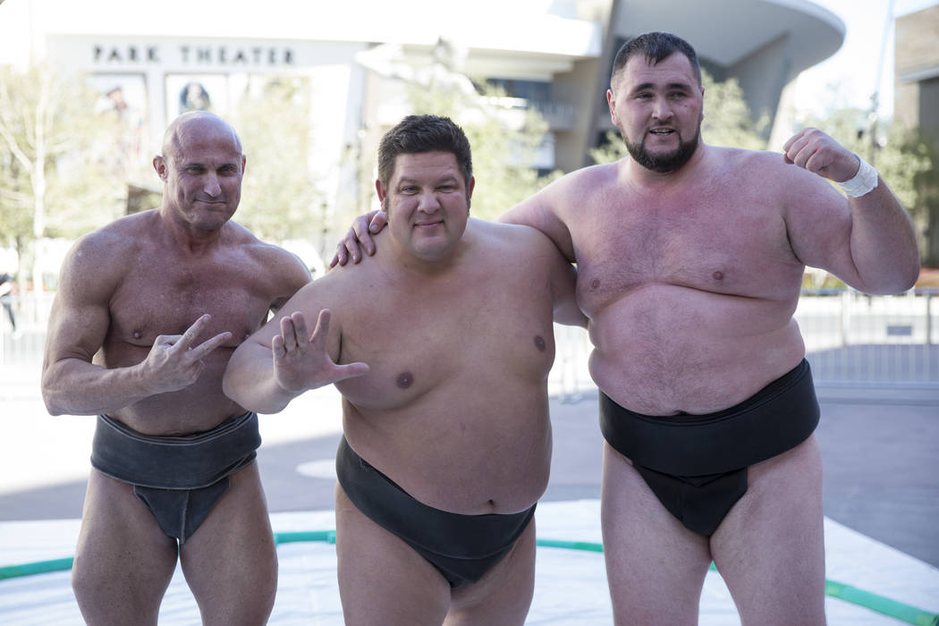 Professional sumo wrestlers from left, Robert Daniel, Dan Kalbfleisch, and Soslan Gagloev, during an Ultimate Sumo League press conference at Toshiba Plaza in Las Vegas, Wednesday, Feb. 7, 2018. E ...