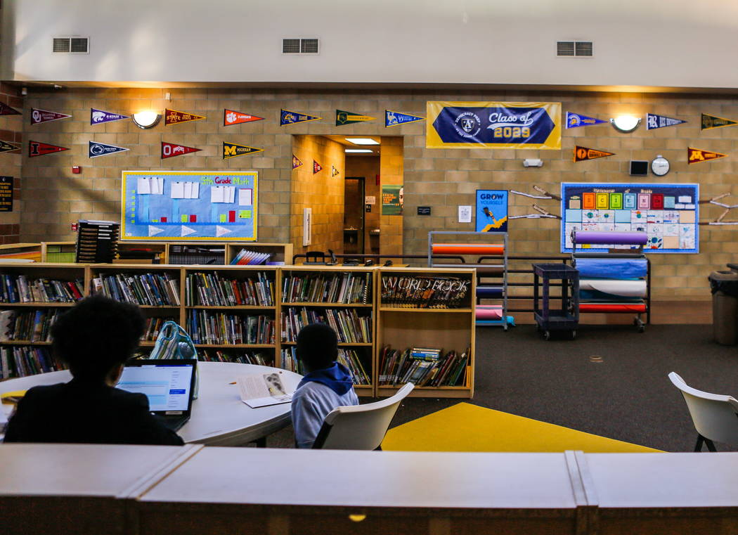 Banners and college pennants hang around Democracy Prep at Agassi Campus, encouraging students to set their sights on college, on Lake Mead Boulevard on Thursday, Feb. 8, 2018.  Patrick Connolly L ...