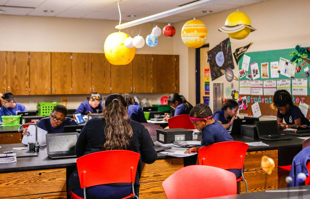 Students work in a sixth-grade science class at Democracy Prep at Agassi Campus on Lake Mead Boulevard on Thursday, Feb. 8, 2018.  Patrick Connolly Las Vegas Review-Journal @PConnPie