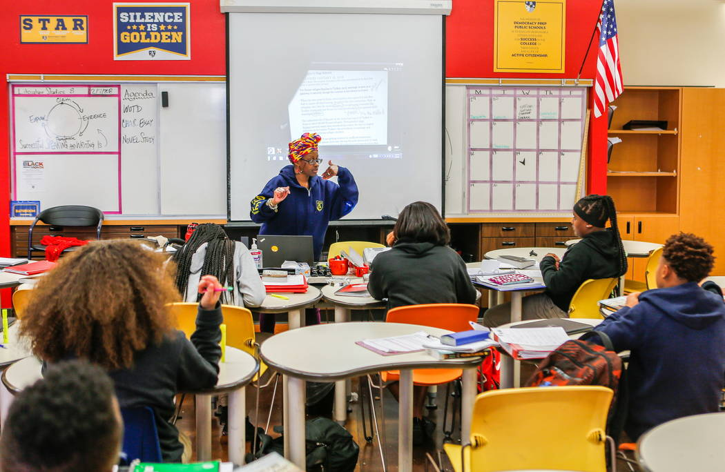Students work in Jai Marin's eighth-grade literature class at Democracy Prep at Agassi Campus on Lake Mead Boulevard on Thursday, Feb. 8, 2018.  Patrick Connolly Las Vegas Review-Journal @PConnPie
