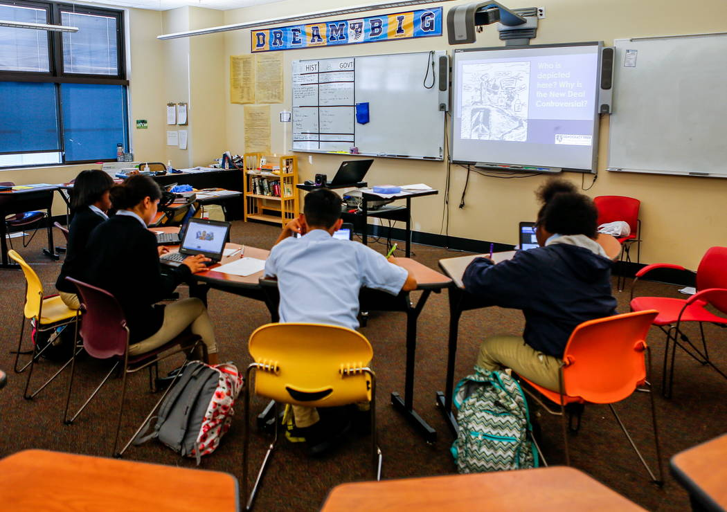 Students work in Taylor Simpson's high school history course at Democracy Prep at Agassi Campus on Lake Mead Boulevard on Thursday, Feb. 8, 2018.  Patrick Connolly Las Vegas Review-Journal @PConnPie