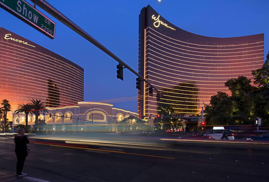 Steve Wynn's properties Encore, left, and Wynn Las Vegas, right, on the Las Vegas Strip on Saturday, Jan. 27, 2018. (Richard Brian/Las Vegas Review-Journal) @vegasphotograph