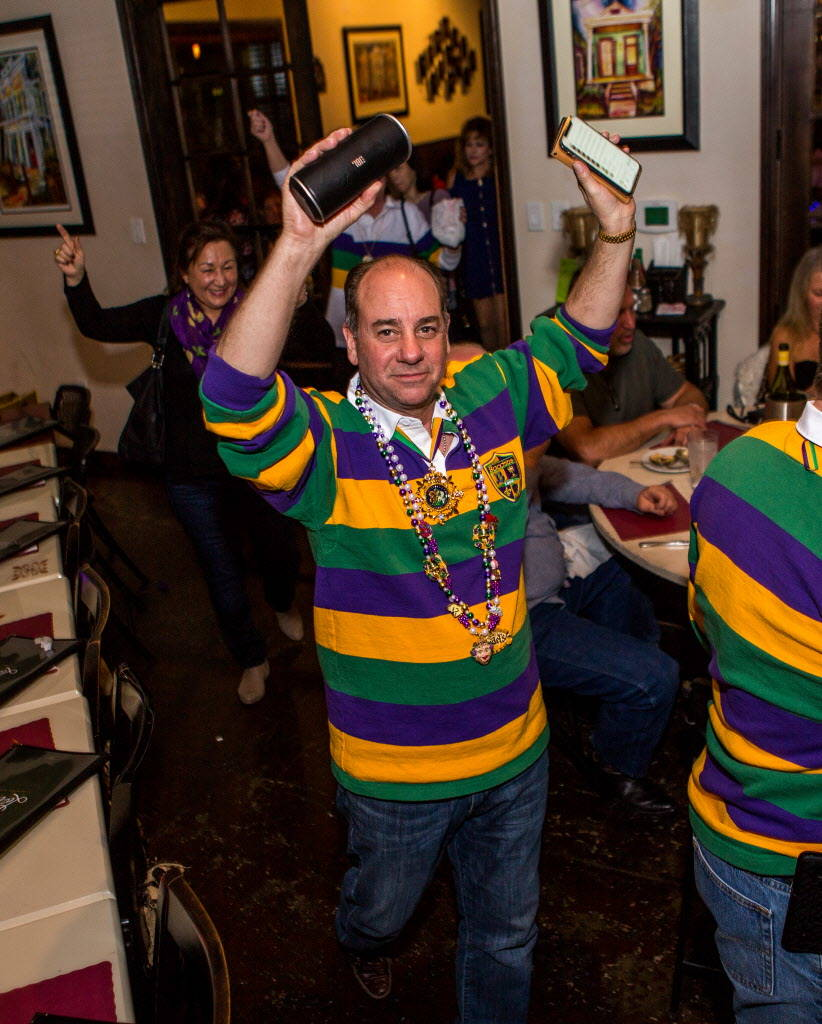 Ken Misch, a former king with the Krewe of Okeanos, celebrates before leaving for New Orleans Mardi Gras at Lola's in Summerlin on Saturday, Feb. 3, 2018.  Patrick Connolly Las Vegas Review-Journa ...