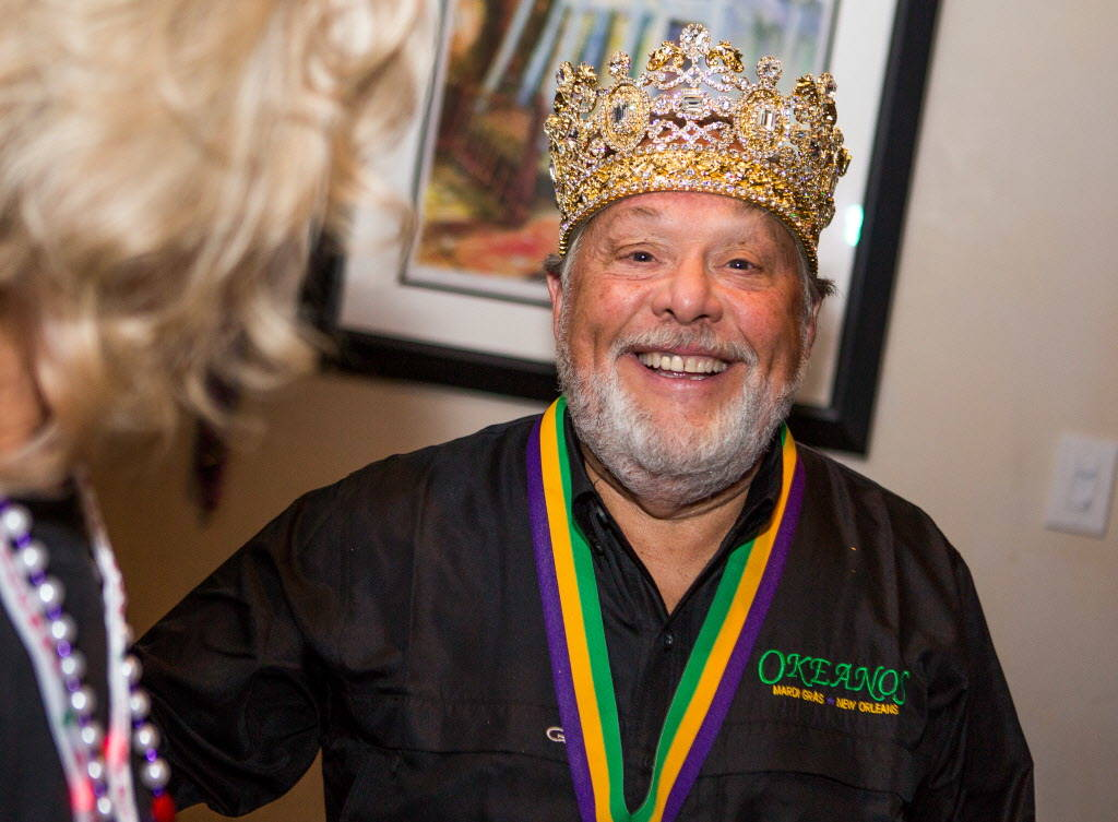 The Krewe of Okeanos King Marc Vennart celebrates before leaving for New Orleans Mardi Gras at Lola's in Summerlin on Saturday, Feb. 3, 2018.  Patrick Connolly Las Vegas Review-Journal @PConnPie