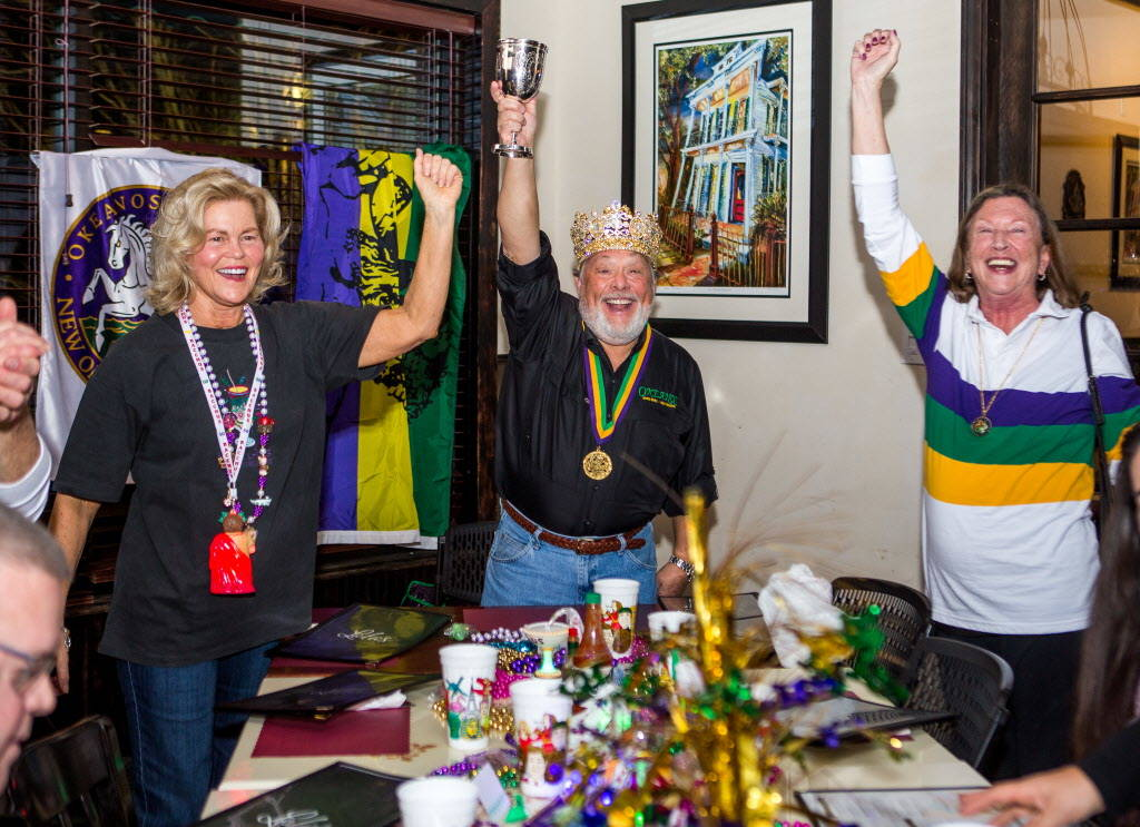 Krewe of Okeanos King Marc Vennart raises a toast with his wife, Joan Vennart, left, as they celebrate before leaving for New Orleans Mardi Gras at Lola's in Summerlin on Saturday, Feb. 3, 2018.   ...