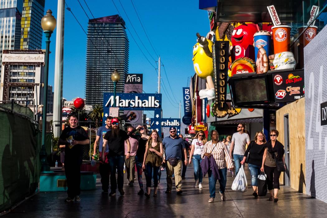 Strip visitors walk past Showcase Mall shops on Las Vegas Boulevard in Las Vegas on Wednesday, Feb. 7, 2018.  Patrick Connolly Las Vegas Review-Journal @PConnPie