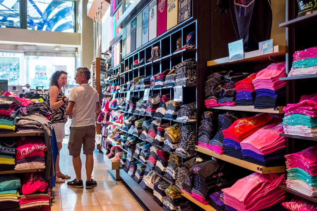 Strip visitors look at Las Vegas T-shirts in ABC Stores on Las Vegas Boulevard in Las Vegas on Wednesday, Feb. 7, 2018.  Patrick Connolly Las Vegas Review-Journal @PConnPie