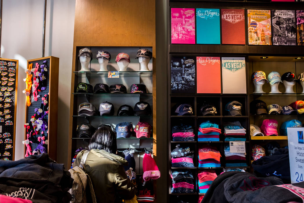 A selection of Las Vegas t-shirts and hats in ABC Stores on Las Vegas Boulevard in Las Vegas on Wednesday, Feb. 7, 2018.  Patrick Connolly Las Vegas Review-Journal @PConnPie