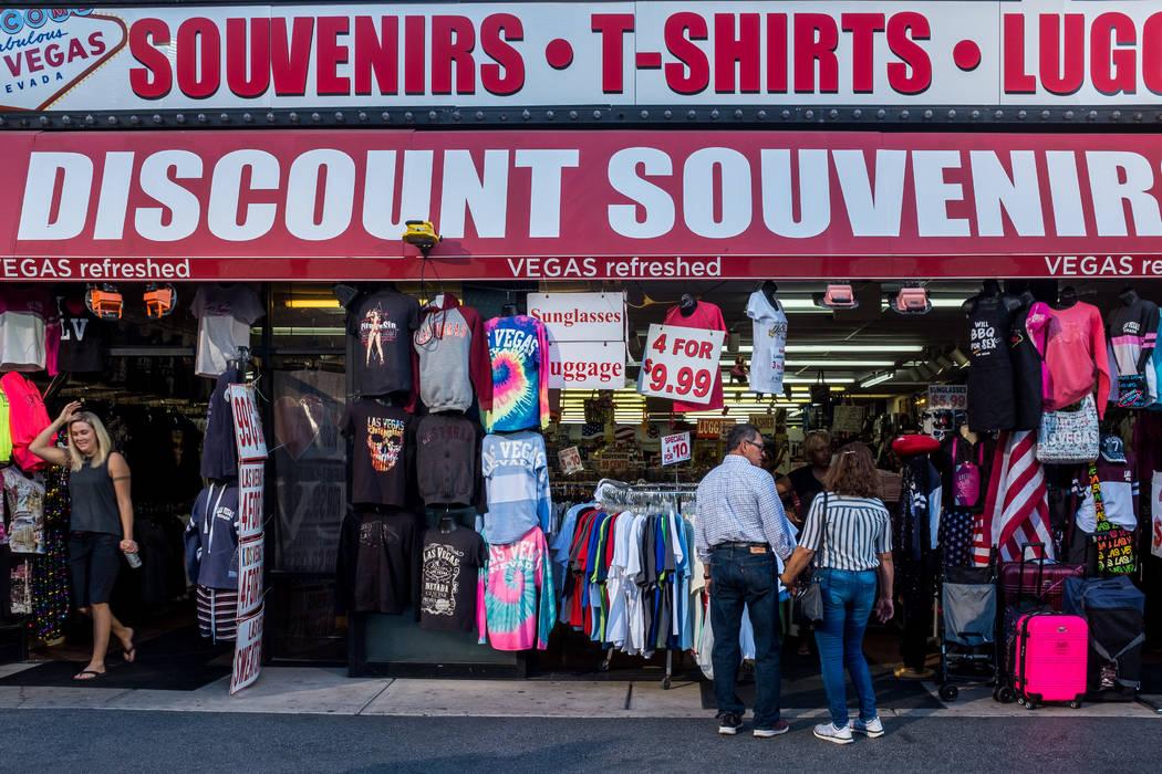 Strip visitors browse Las Vegas souvenirs in a shop on Las Vegas Boulevard on Wednesday, Feb. 7, 2018.  Patrick Connolly Las Vegas Review-Journal @PConnPie