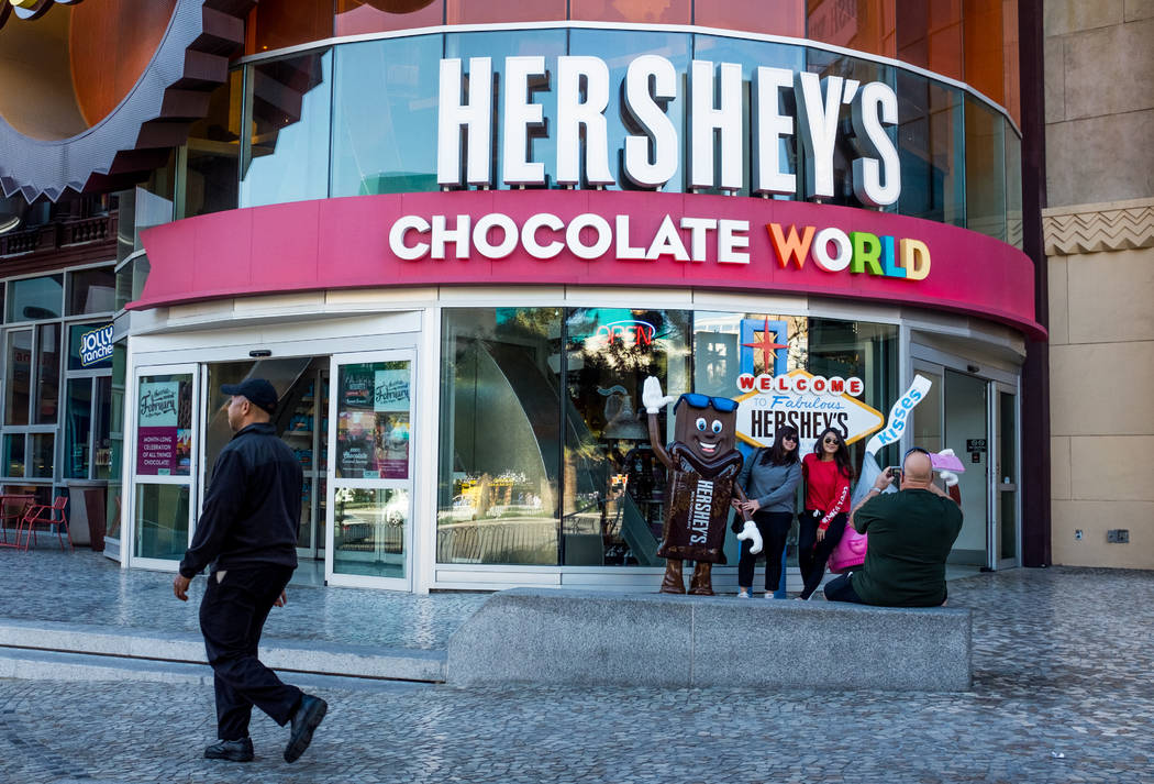 Strip visitors take photos in front of Hershey's Chocolate World on Las Vegas Boulevard on Wednesday, Feb. 7, 2018.  Patrick Connolly Las Vegas Review-Journal @PConnPie
