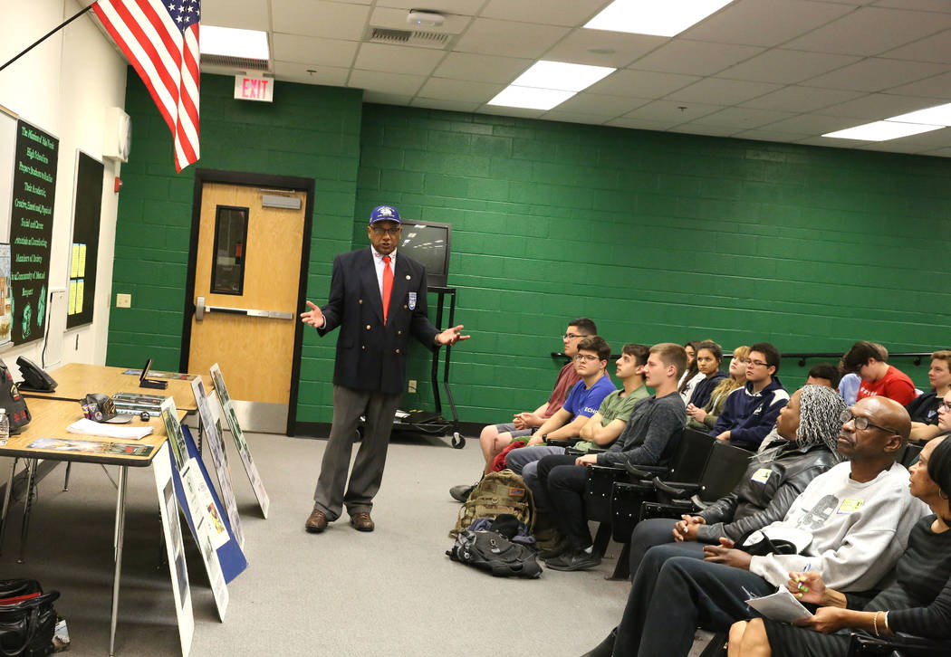 Robert Lee Porter, a retired Air Force veteran and past president of the the San Diego chapter of the Tuskegee Airmen, speaks about Tuskegee Airmen to Palo Verde High School students on Monday, Fe ...