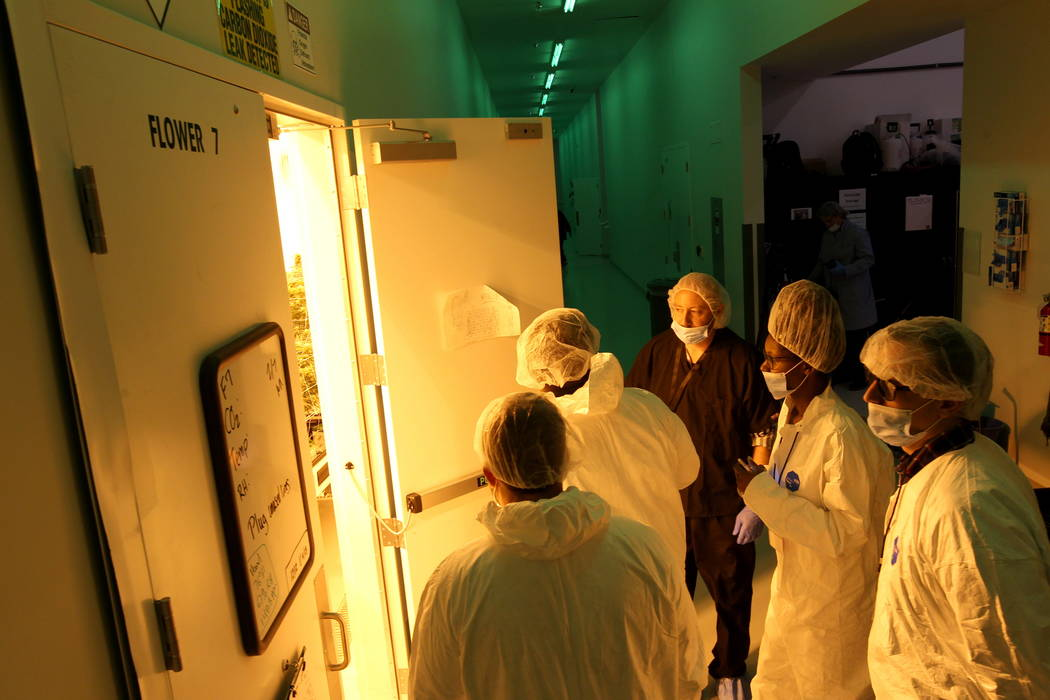 Jason Gully, chief operating officer of GreenMart of Nevada NLV LLC in North Las Vegas, center, gives a tour of his facility to New Jersey lawmakers and cannabis industry officials on a three-day  ...