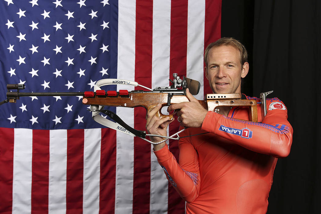United States Olympic Winter Games biathlon's Lowell Bailey poses for a portrait at the 2017 Team USA Media Summit Monday, Sept. 25, 2017, in Park City, Utah. (AP Photo/Rick Bowmer)