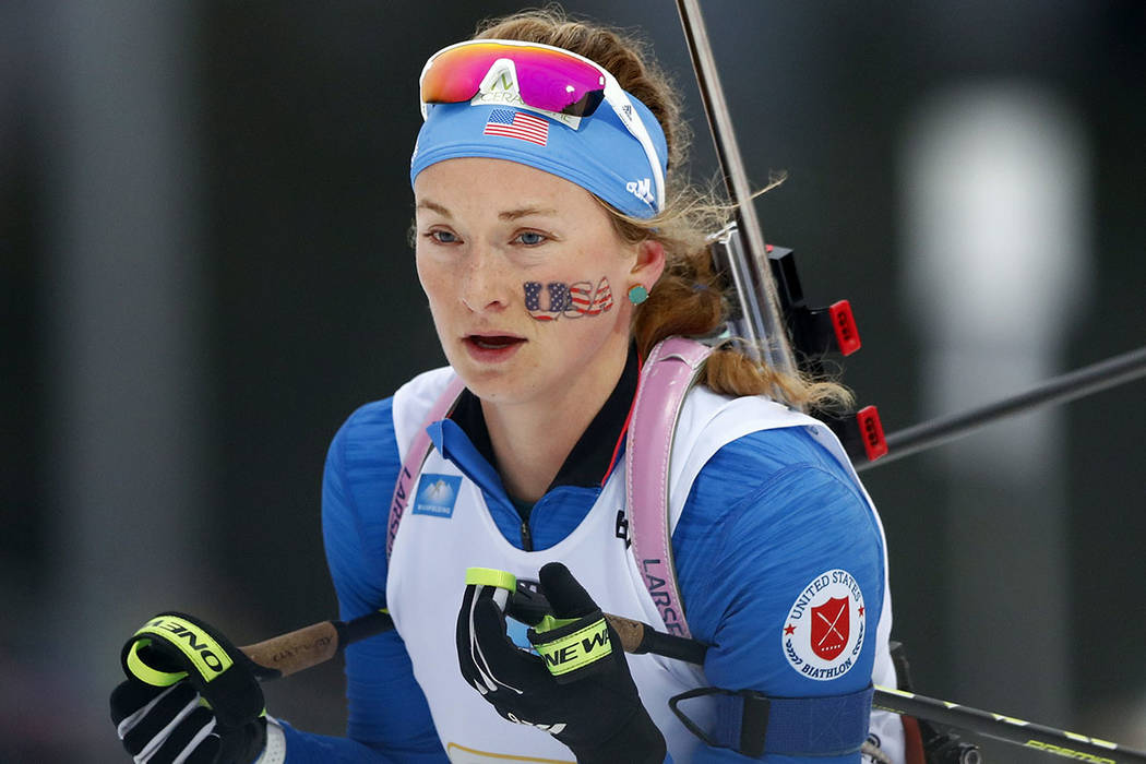 Emily Dreissigacker of the U.S. competes during the women's 4x6 km relay competition at the biathlon World Cup in Ruhpolding, Germany, Saturday, Jan. 13, 2018. (AP Photo/Matthias Schrader)
