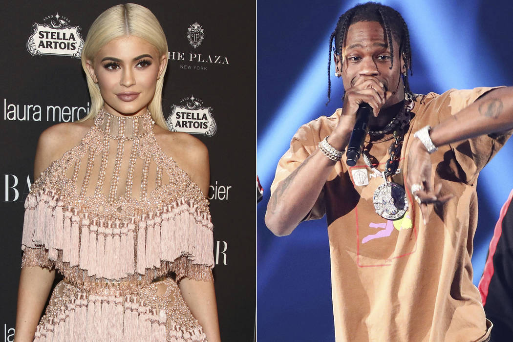 In this combination photo, TV personality Kylie Jenner, left, attends Harper's Bazaar Icons celebration on Sept. 9, 2016, in New York and rapper Travis Scott performs at the 2017 iHeartRadio Music ...