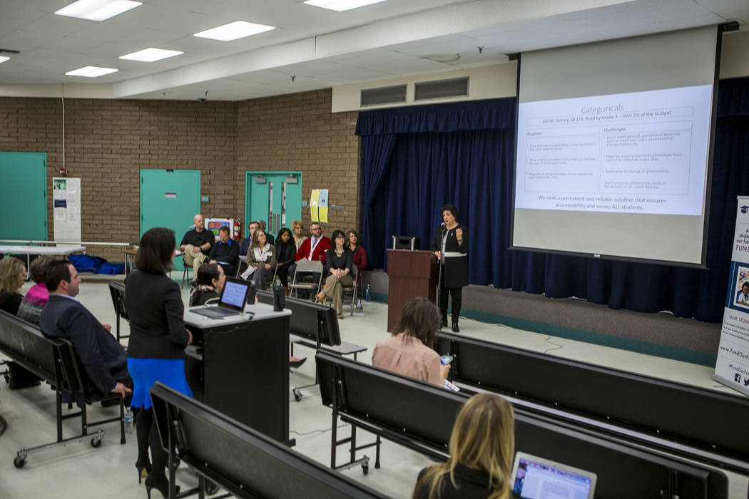 Parents, students, teachers, and community partners come together to announce the Fund Our Future Nevada campaign at Bill Y. Tomiyasu Elementary School in Las Vegas on Tuesday, Feb. 13, 2018.  Pat ...