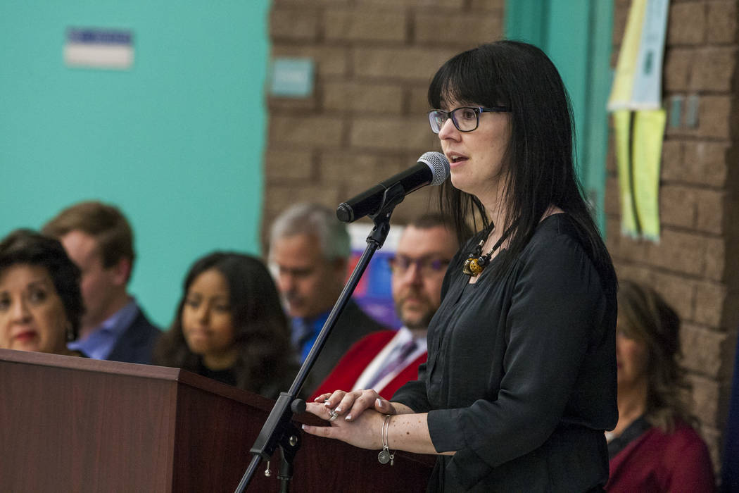 Renee Muraco, principal at Bill Y. Tomiyasu Elementary School, speaks at an announcement for the Fund Our Future Nevada campaign at Bill Y. Tomiyasu Elementary School in Las Vegas on Tuesday, Feb. ...