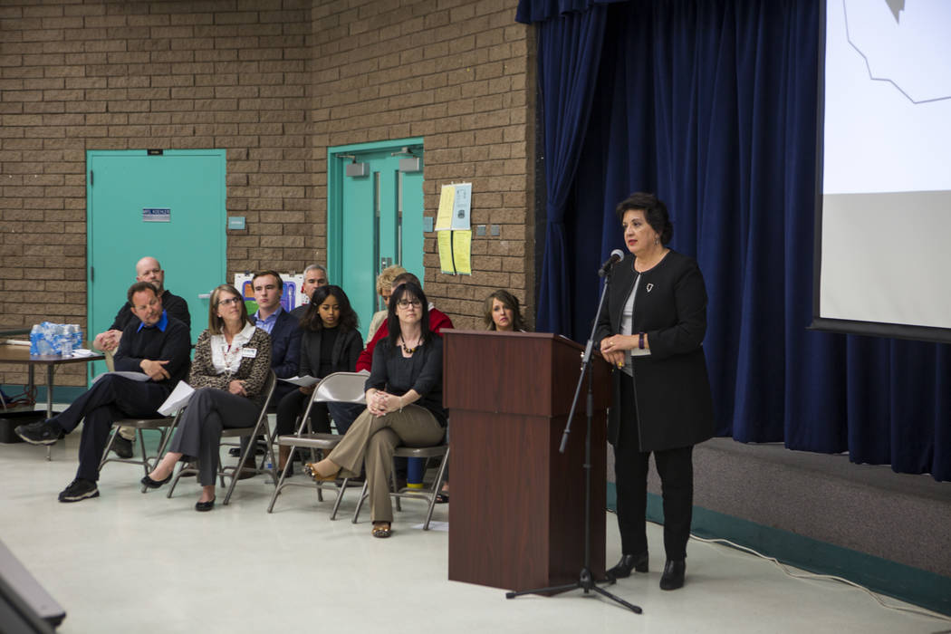 Sylvia Lazos, policy director of Educate Nevada Now, speaks at an announcement of the Fund Our Future Nevada campaign at Bill Y. Tomiyasu Elementary School in Las Vegas on Tuesday, Feb. 13, 2018.  ...