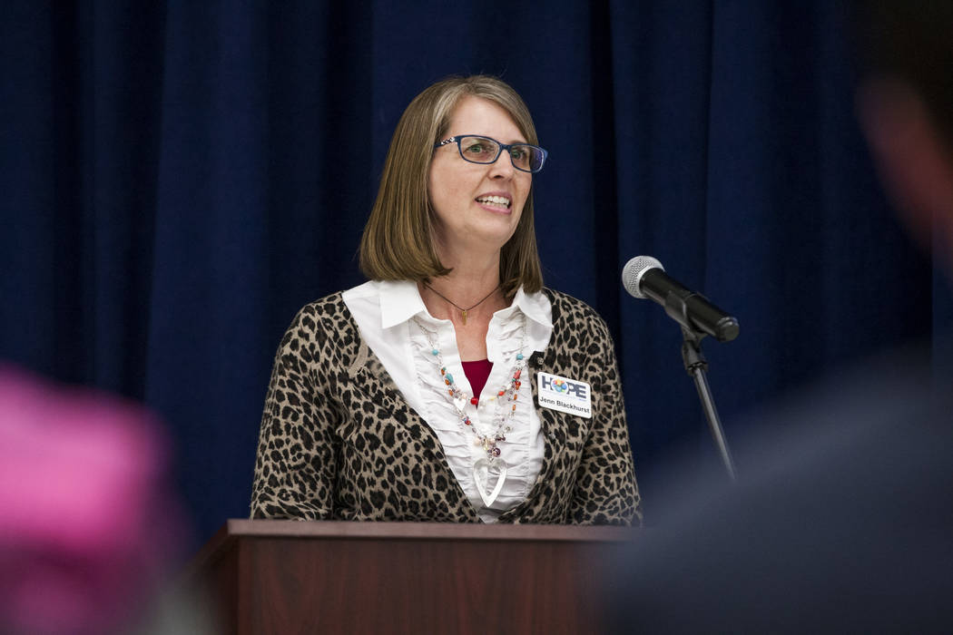 Jenn Blackhurst, president of Honoring Our Public Education (HOPE), speaks at an announcement of the Fund Our Future Nevada campaign at Bill Y. Tomiyasu Elementary School in Las Vegas on Tuesday,  ...