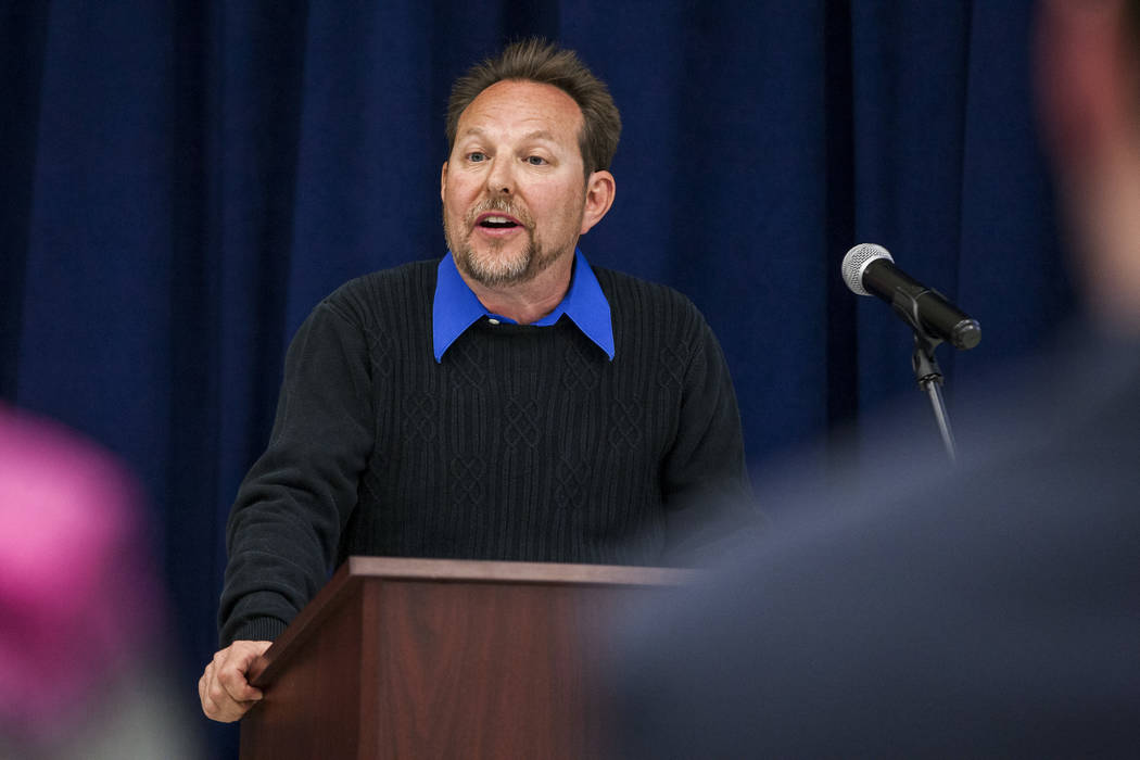 Chet Miller, a physical education teacher, speaks at an announcement of the Fund Our Future Nevada campaign at Bill Y. Tomiyasu Elementary School in Las Vegas on Tuesday, Feb. 13, 2018.  Patrick C ...