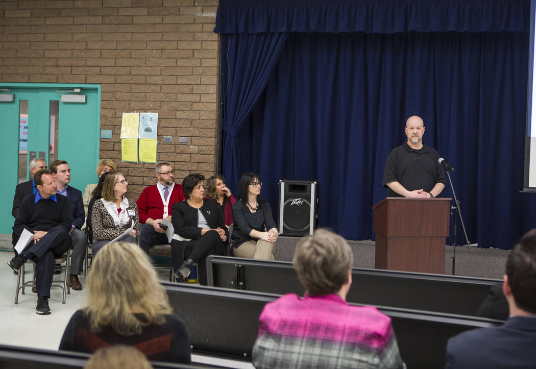 Rancho High School teacher Robert Cowles speaks at an announcement of the Fund Our Future Nevada campaign at Bill Y. Tomiyasu Elementary School in Las Vegas on Tuesday, Feb. 13, 2018.  Patrick Con ...