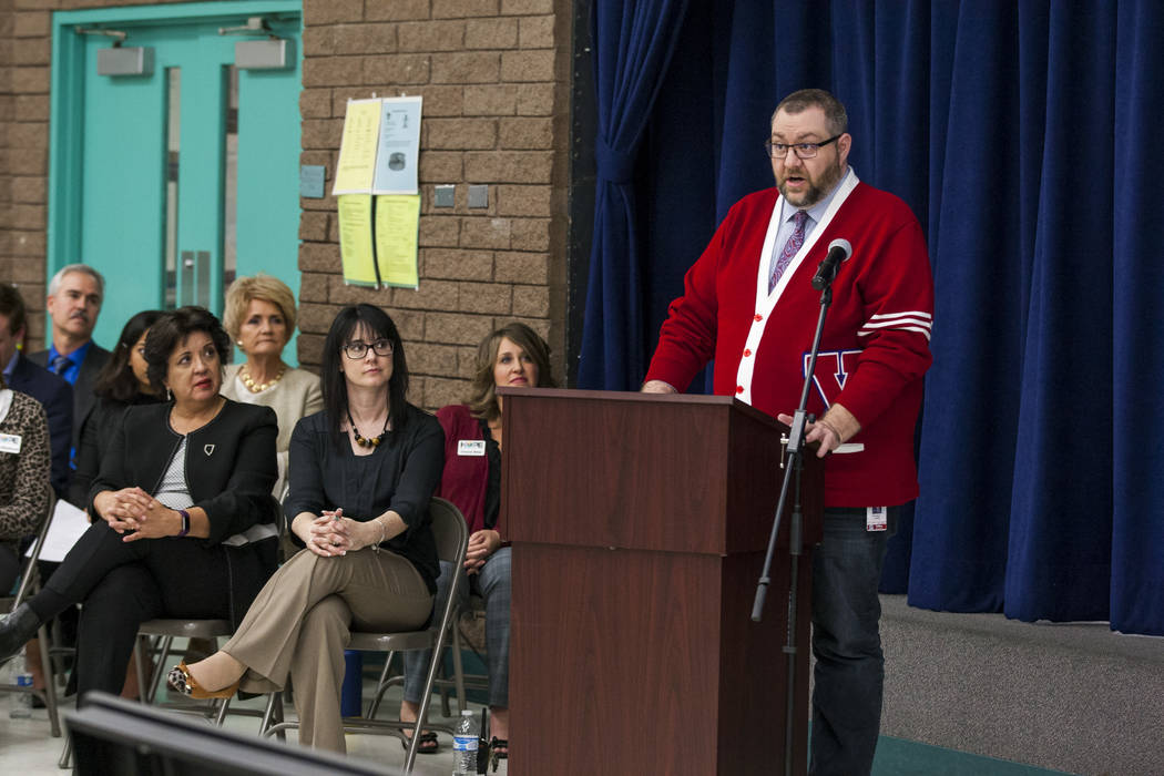 Brad Evans, English language learner teacher at Valley High School, speaks at an announcement of the Fund Our Future Nevada campaign at Bill Y. Tomiyasu Elementary School in Las Vegas on Tuesday,  ...