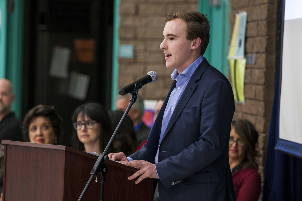 Connor Leeming, student body president at Valley High School, speaks at an announcement of the Fund Our Future Nevada campaign at Bill Y. Tomiyasu Elementary School in Las Vegas on Tuesday, Feb. 1 ...
