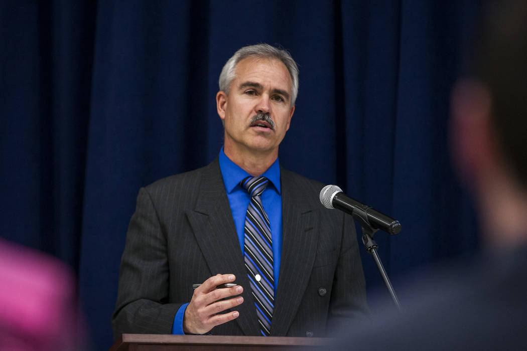 Paul Johnson, Chief Financial Officer for the White Pine County School District, speaks at an announcement of the Fund Our Future Nevada campaign at Bill Y. Tomiyasu Elementary School in Las Vegas ...
