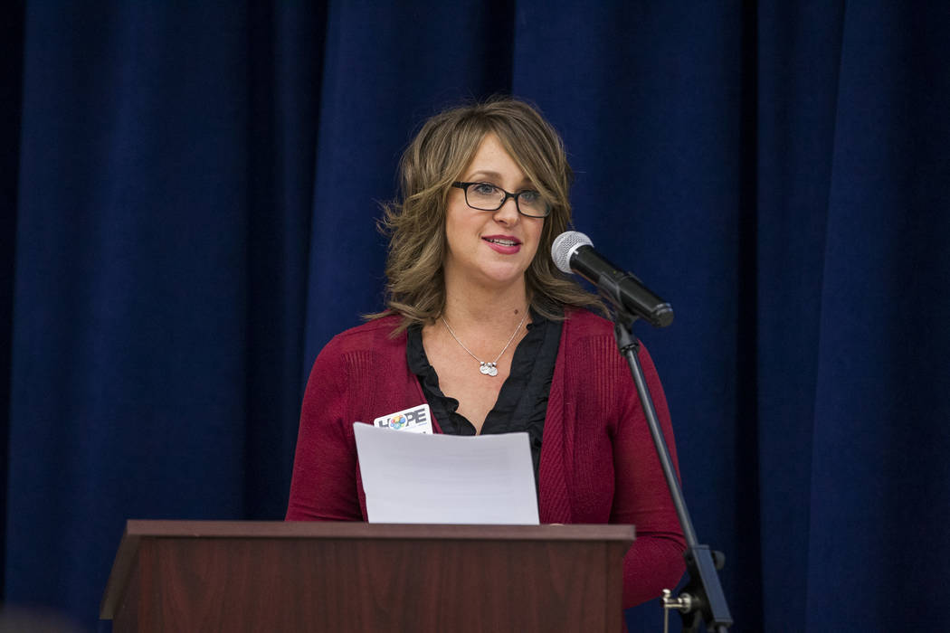 Caryne Shea, vice president of Honoring Our Public Education (HOPE), speaks at an announcement of the Fund Our Future Nevada campaign at Bill Y. Tomiyasu Elementary School in Las Vegas on Tuesday, ...