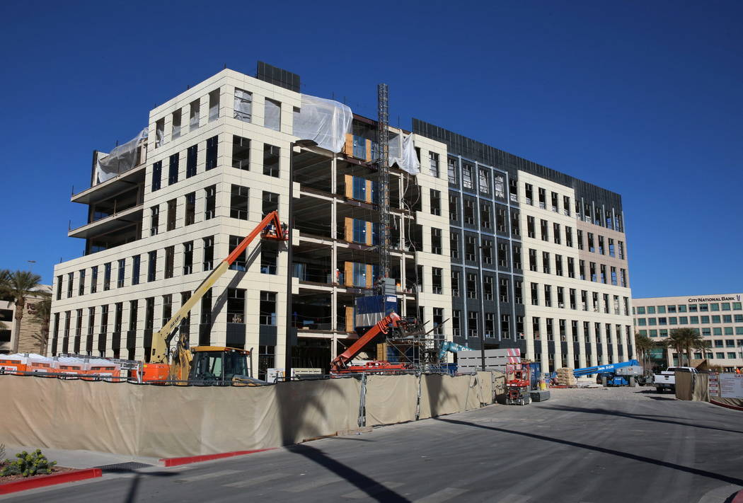 A six-story office building under construction next to Red Rock Resort at the southeast corner of Pavilion Center and Griffith Peak drives on Wednesday, Feb. 7, 2018, in Las Vegas. Bizuayehu Tesfa ...