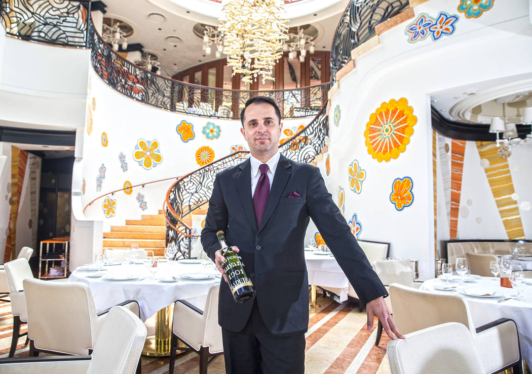Mikklos Katona, wine manager at Costa di Mare, on Wednesday, June 14, 2017, at the Wynn hotel-casino, in Las Vegas. Benjamin Hager Las Vegas Review-Journal @benjaminhphoto