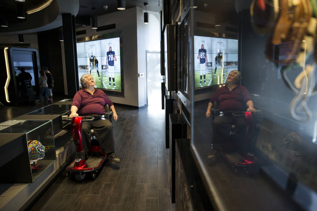 Nash Torres visits the Raiders Preview Center at Town Square Las Vegas in Las Vegas, Tuesday, Feb. 6, 2018. The facility, which is several thousand square-feet, holds a variety of Oakland Raiders  ...