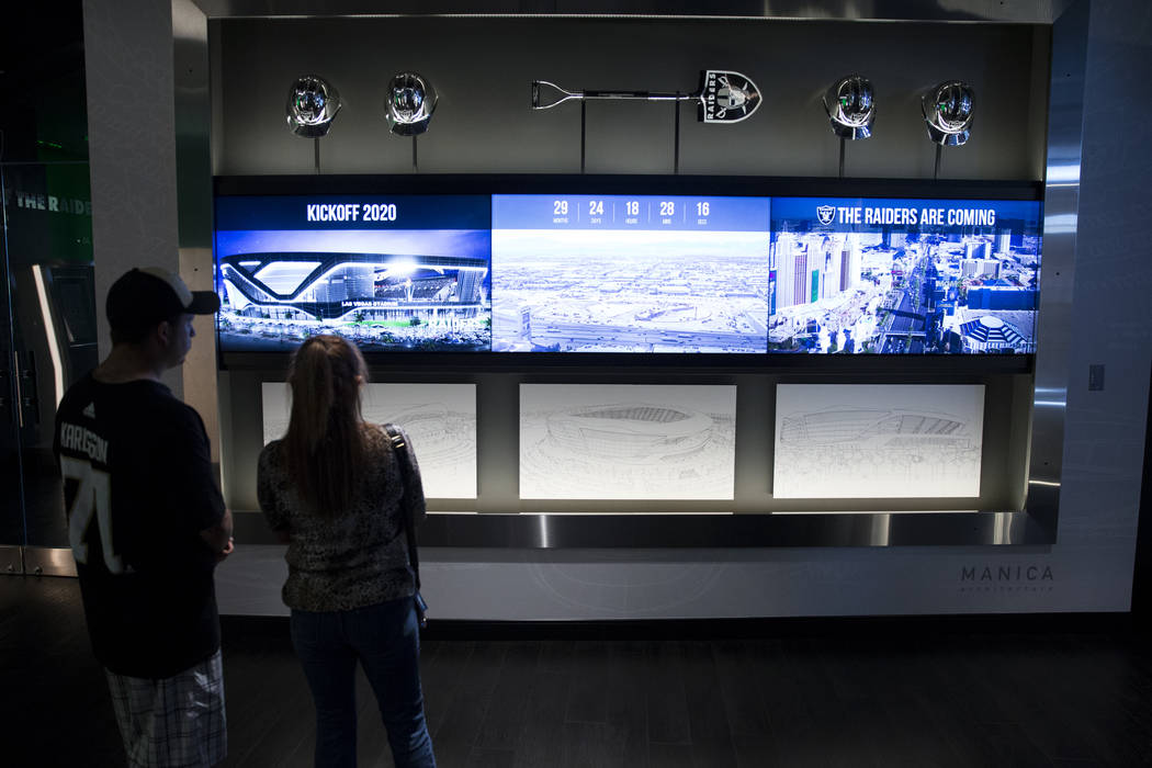 People visit the Raiders Preview Center at Town Square Las Vegas in Las Vegas, Tuesday, Feb. 6, 2018. Erik Verduzco Las Vegas Review-Journal @Erik_Verduzco