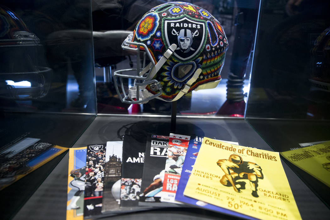 A Huichol art decorated helmet on display in the Raiders Preview Center at Town Square Las Vegas in Las Vegas, Tuesday, Feb. 6, 2018. Erik Verduzco Las Vegas Review-Journal @Erik_Verduzco