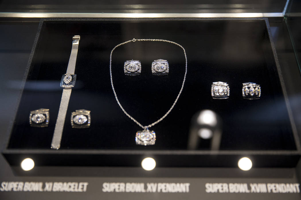 A Super Bowl bracelet and pendants on display in the Raiders Preview Center at the Town Square Las Vegas in Las Vegas, Tuesday, Feb. 6, 2018. Erik Verduzco Las Vegas Review-Journal @Erik_Verduzco
