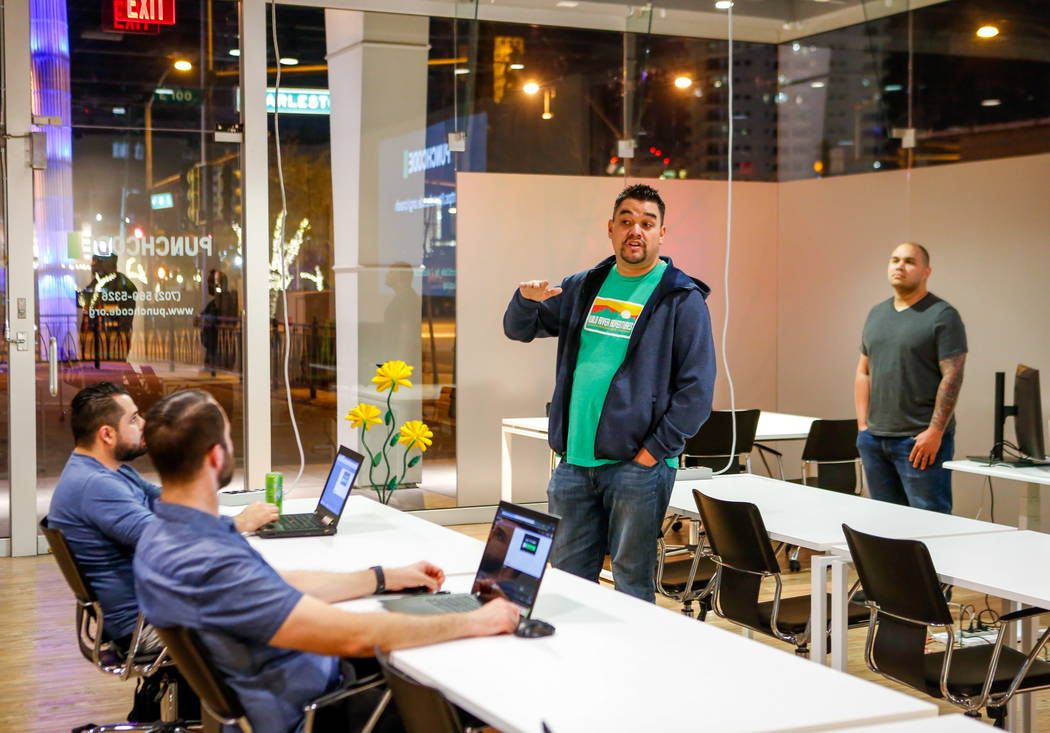 Gabriel Shepherd, campus director with PunchCode, makes an introduction for a JavaScript crash course at PunchCode on Casino Center Boulevard on Thursday, Feb. 8, 2018.  Patrick Connolly Las Vegas ...