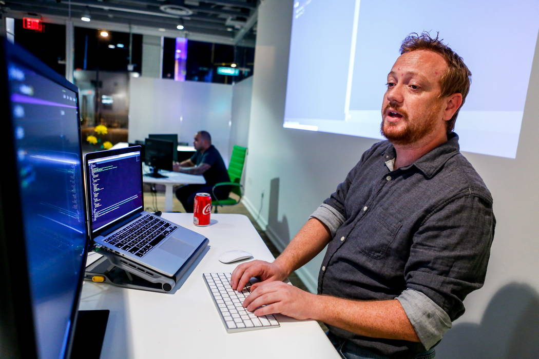 Mike Sweeney, lead instructor at PunchCode, teaches a JavaScript crash course at PunchCode on Casino Center Boulevard on Thursday, Feb. 8, 2018.  Patrick Connolly Las Vegas Review-Journal @PConnPie