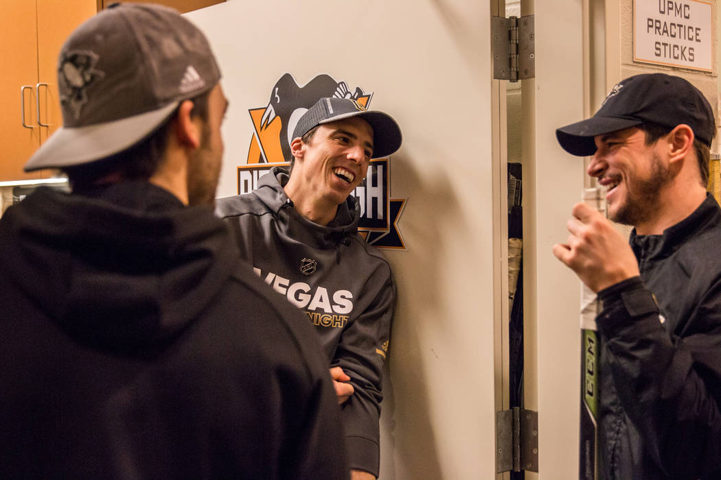 Golden Knights goaltender Marc-Andre Fleury, center, visits with members of his former team, the Pittsburgh Penguins, in Pittsburgh on Tuesday, Feb. 6, 2018. Pittsburgh Penguins/Evan Schall