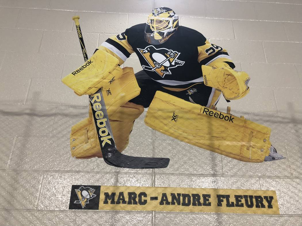 A photo of Marc-Andre Fleury is seen on the wall at the Sto-Ken-Rox Boys and Girls Club in McKees Rock, Pa. (Ed Graney/Las Vegas Review-Journal)