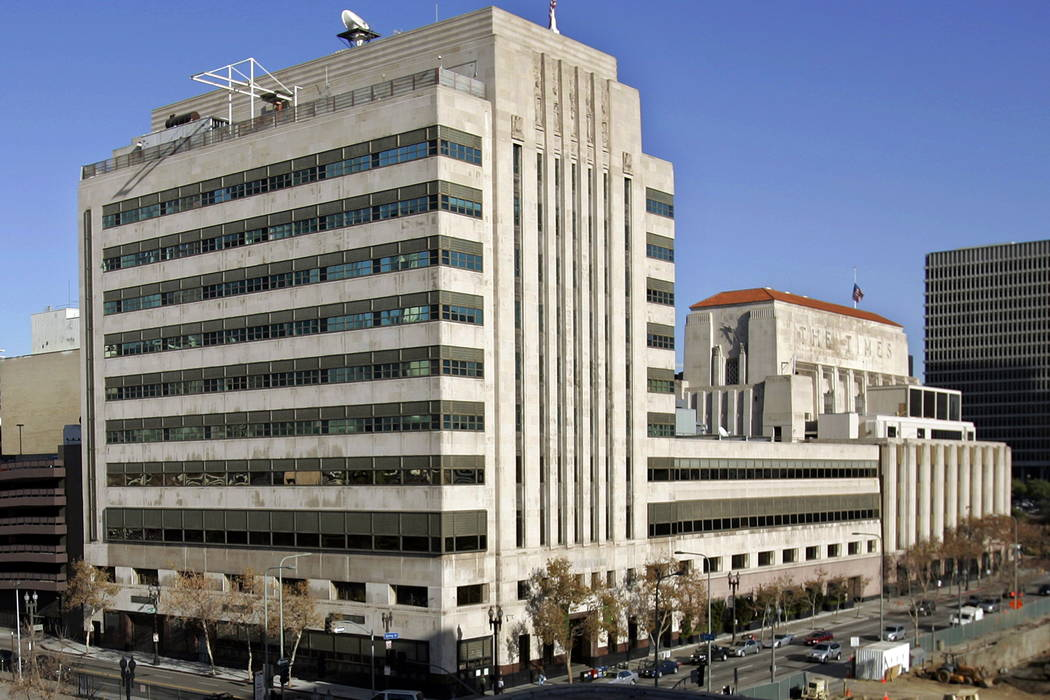 The Los Angeles Times buildings is seen in downtown Los Angeles in 2007. (AP Photo/Reed Saxon, File)
