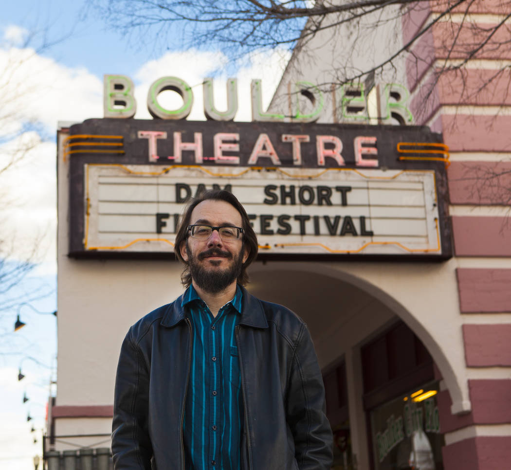 Lee Lanier, executive director and co-founder of the Dam Short Film Festival, in front of the Boulder Theatre in Boulder City on Friday, Feb. 3, 2017. (Miranda Alam/Las Vegas Review-Journal) @mira ...