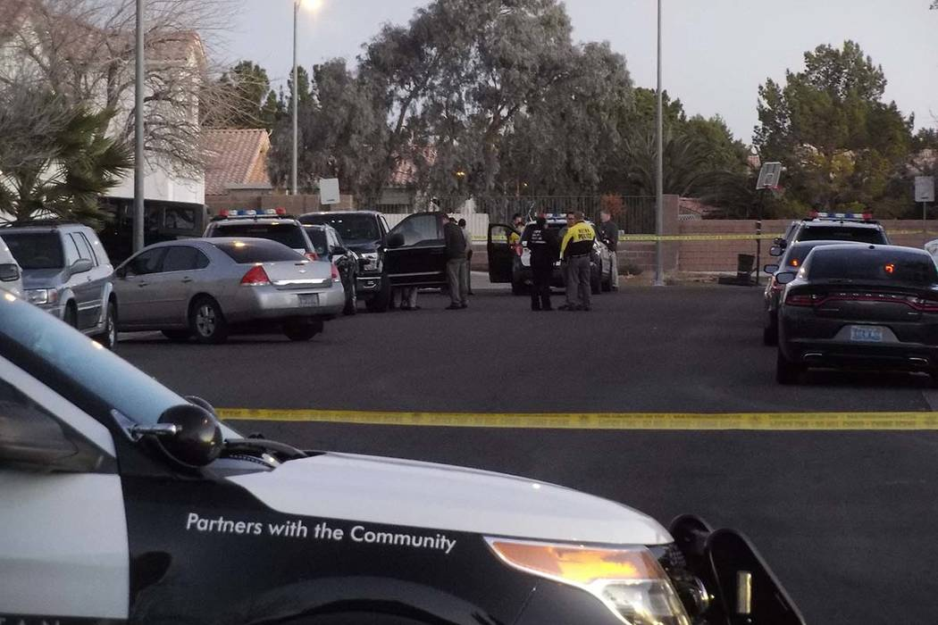Las Vegas police are investigating a homicide and kidnapping in the 3300 block of Robin Nest Court, near Desert Inn Road and Hualapai Way, Wednesday, Feb. 7, 2018, in Las Vegas. (Max MIchor/Las Ve ...