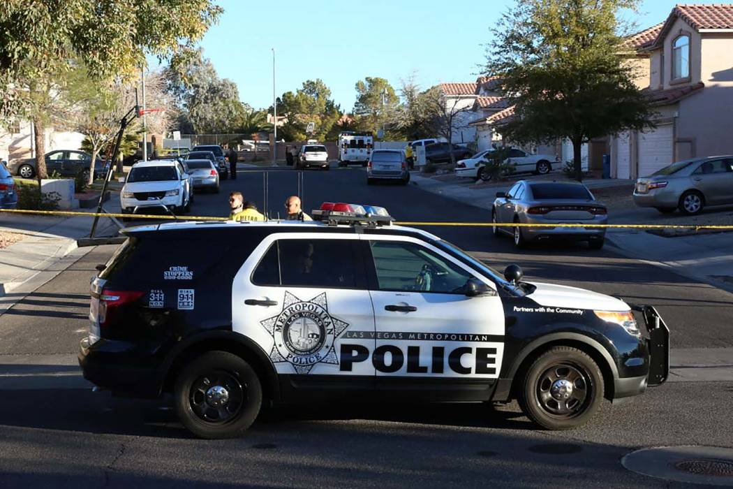 Las Vegas police are investigating a homicide and kidnapping in the 3300 block of Robin Nest Court, near Desert Inn Road and Hualapai Way, Wednesday, Feb. 7, 2018, in Las Vegas. (Bizuayehu Tesfaye ...